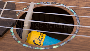 Oasis OH-18 Ukulele Humidifier Installed in the Soundhole